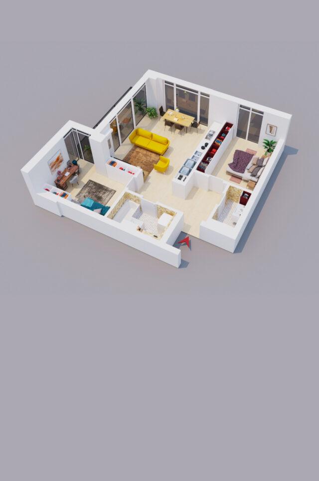2 camere etaj 1 50mp